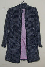 Dalia Womens Junior Girl's Black/White Long Sleeve Lined Acrylic Coat
