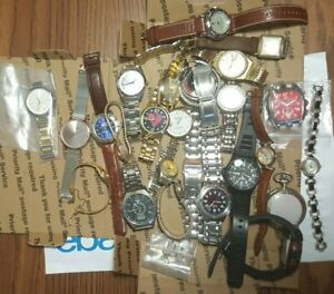 25+ MIX QUARTZ WATCH LOT RELIC STAUER Atomic Fossil Wenger SUG SEIKO PARTS AS-IS