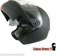 CASQUE MOTO SCOOTER MODULABLE 2 ECRAN AMX 910 NOIR MAT + CAGOULE OFFERTE
