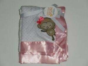 HTF NWT Carters Just One You Pink White Polka Dot Monkey Baby Girl Satin Blanket