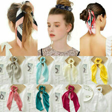 Women Bow Satin Long Ribbon Ponytail Scarf Hair Tie Scrunchies Elastic Hair Rope