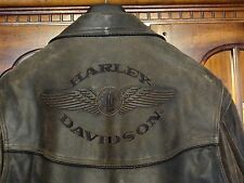 "Harley Davidson Motorcycle ""Billings"" Brown Distressed Leather Jacket Mens Large"