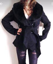 BEBE Wool Faux Fur Trim Coat Jacket Women's Sz L Black $229