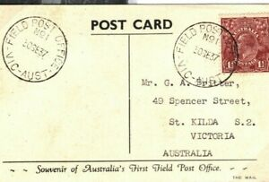 AUSTRALIA Card FIRST FIELD POST OFFICE FPO Victoria GOLF LINKS PPC 1937 LS64