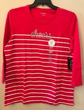 NWT Kim Rogers Women's XXL Red White Striped Sliver Sparkle Cheers Blouse Top