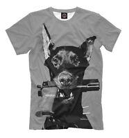 Doberman Pinscher tee - guard dog t-shirt criminal mafia style animal print