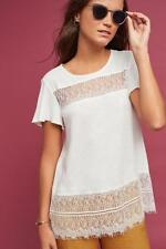Anthropologie Linen & Lace Tee Top NWT new size L white