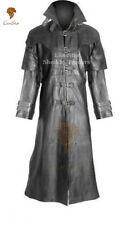 Unisex Vampire Gothic Steampunk Vintage Military Edwardian Fancy Leather Coat