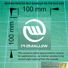 Williams F1 racing fan Race Car Sticker Decal 100x100mm white reverse clear x1