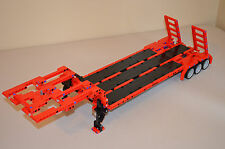 "NEW LEGO TECHNIC RED/BLACK MOC/CUSTOM FLATBED TRAILER 25""-Long"