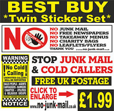 NO JUNK MAIL / NO COLD CALLERS STICKER SET, (FREE Postage) Sign ID : BRYC  BNWT