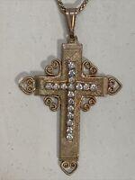 Cross Pendant Necklace Rhinestone Gold Tone Jesus Catholic Religious Vintage
