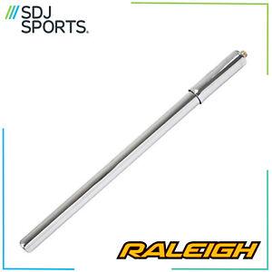 """Raleigh 16"""" Steel Silver Bicycle Bike Pump Fits Schrader And Presta Valves"""