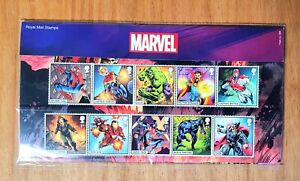 NEW MARVEL SUPERHEROES 1ST CLASS ROYAL MAIL STAMPS FULL SET OF 10 NEW MINT CON'D