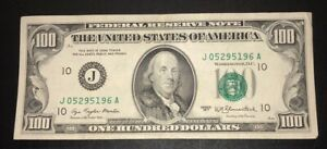 1977 (J) $100 One Hundred Dollar Bill Federal Reserve Note Kansas City Old Crisp