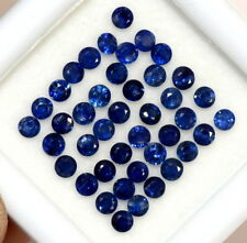 2.32 Cts Natural Blue Sapphire Round Cut 2 mm Lot 40 Pcs Calibrated Gemstones
