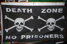 "Pirate Flag 3' x 5' ""Death Zone No Prisoners"" w/ 2 Skulls Banner ""Usa Seller"""