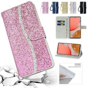Strap Flip Wallet Glitter Phone Case Cover for Samsung Galaxy A42 A12 A02S A52