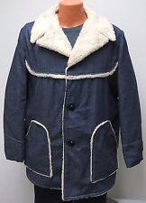 vtg Cooper BLUE DENIM SHERPA Ranch Coat sz 44 Shearling 70s jacket fleece large