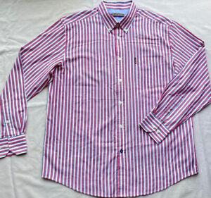 BEN SHERMAN Men's Oxford Shirt Burgundy Navy Stripes 2XL XXL Long Sleeve Regular