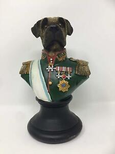 Vintage Style Comical Dog Bust Statue Sculpture Military Uniform Steampunk