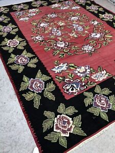 Vintage Turkish Kilim Kelim Rug Handmade 10'9x8'1'' Large, Moroccan, Boho Rustic