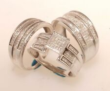 Diamond trio bridal ring wedding & engegement set men & women brand new