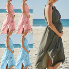 Women Sleeveless Pregnant Maternity Dress Skirt Breastfeeding Sexy Beach HY