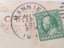 One Cent Stamp Benjamin Franklin Cancelled on Vintage Bamforth Postcard 1910