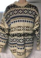 Blarney Woolen Mills Sweater Crew Neck Mens Ivory Blue Size XL Wool Alpaca Blend