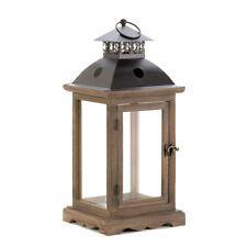 New Candle Holder Lantern Large Rustic Style Wood with Glass Panels Hangs Stands