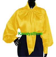 Yellow - Women Satin Vintage style long sleeve BOW Blouse Top High Neck Shirt