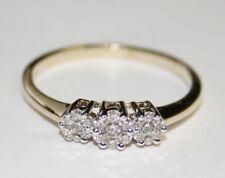 Impressive 9ct Gold Trilogy Diamond Ring 0.25cts Size Q