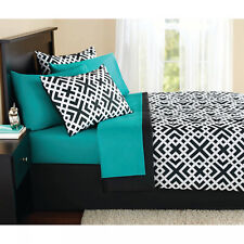 Queen Size Comforter Set 8 Pieces Aqua Black Geo Bed in a Bag Complete Bedding