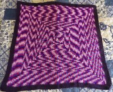 New Hand Crocheted Mulberry and Pink Throw Rug Bed Cover Knee Rug 105x100