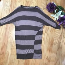Motherhood maternity brown taupe striped dolman sleeve tunic top shirt small 281