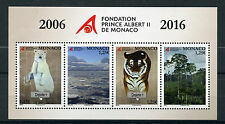 Monaco 2016 MNH Prince Albert II Foundation 4v M/S Tigers Polar Bears Stamps