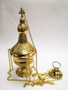 NEW GOLD PLATED CATHOLIC CHURCH CENSER THURIBLE from Italy new!