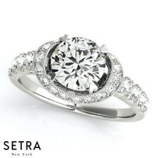 Oval Halo Cut Semi Mount Genuine Diamond Engagement Rings