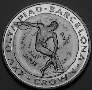 Gibraltar Couronne, 1992 Gem UNC ~Discus Lanceur~Barcelone Olympiques