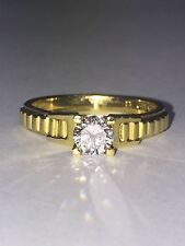 Solitaire 0.45ct Diamond Ring in 18K Yellow Gold, G/VVS.