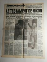 N366 La Une Du Journal France-soir 10 août 1974 le testament De Nixon