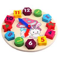 Baby Kids Wooden Toys Digital Geometry Clock Educational Toy Blocks Toys F9K5