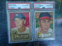 1952 TOPPS PSA AUTHENTIC LOT CLIFF CHAMBERS AND BOB KUZAVA