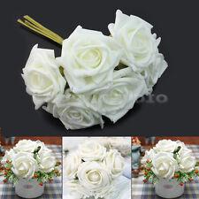 New Artificial Foam Rose Bouquet 6 Floral Flowers Bridal Wedding Decor Ivory 6cm