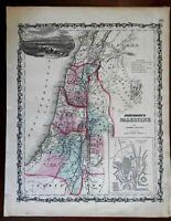 Holy Land Palestine Israel Jerusalem 1862 Johnson & Ward map Civil War-era Issue