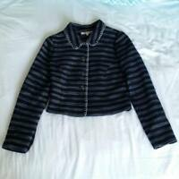 Review Ladies Jacket Cardigan Top Size 6 Blue Long Sleeve (A5)