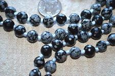 Snowflake Obsidian Hand Knotted Mala Beads Necklace -Karma Nirvana Meditation