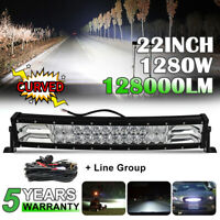 """22""""inch 1280W Curved LED Work Light Bar Flood Spot Combo for Offroad SUV ATV 4WD"""