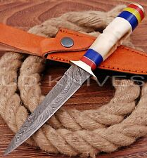 9 INCH UD CUSTOM DAMASCUS HUNTING BOOT DAGGER KNIFE BONE HANDLE B5-11585